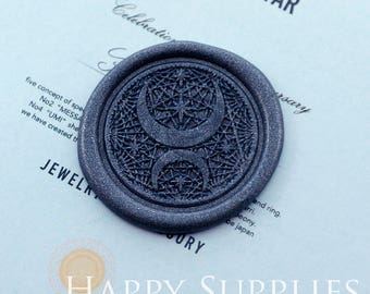 Buy 1 Get 1 Free - 1pcs 30mm Round Moon and Stars Gold Plated Wax Seal Stamp (WS419)