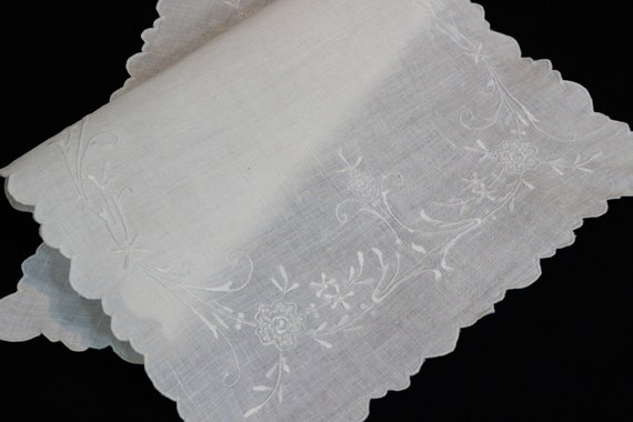 White Embroidered Rectangular Tray Cloth Doily, White on White Floral Embroidery, Semi Sheer Linen, Cottage Shabby Chic, Vintage Linens