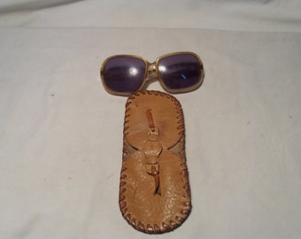Vintage Handmade Beige Leather Glasses Case