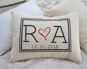 Personalized Pillow, fiance gift for her, Second cotton anniversary, valentine gift, engaged gift, dating anniversary