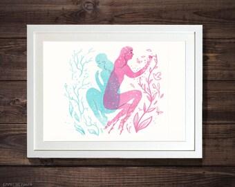 Biology - Pink & Blue Illustrated Floral Character Art Print by Emmeline Pidgen Illustration
