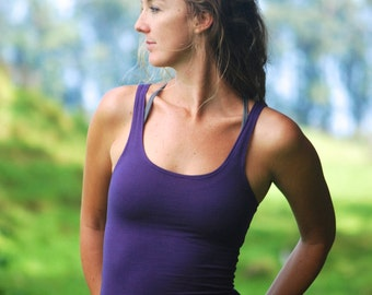 Yoga Layering Tank Top for Women - Purple - Eco Friendly Activewear - Fitted - Organic Clothing