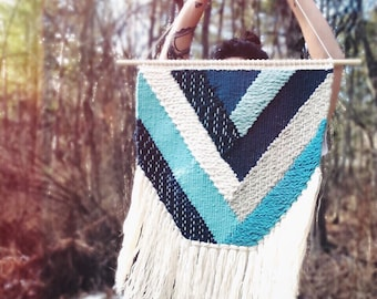 "24"" Woven Wall Hanging   Turquoise Geometric Weaving"