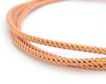 1 M of pink and gold twisted cord 3mm polyester