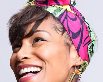 Pink African Print headwrap | Ankara Wax print Head wrap | Print headscarf | African wax print material | Headwrap Scarf | Print 1