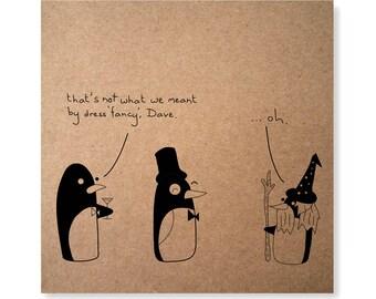 Penguin Card, Penguin Party, Fancy Dress, Funny Penguin Handmade Illustrated Greeting Card