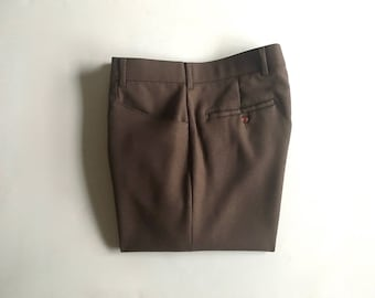 Vintage Men's 80's Levi's Action Slacks, Brown Pants, Polyester, Straight Leg (W29 x L32)