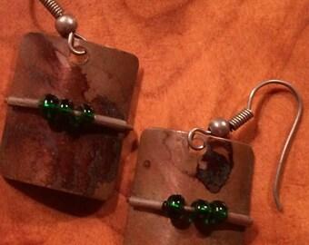Handmade Copper Earrings of Pierced Ears