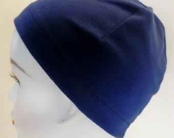Ladies Navy Soft Sleep Cap Cancer Chemo Hat Scarf Liner Cap