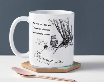 Winnie The Pooh I Knew An Adventure Was Going To Happen Mug Birthday Gift Christmas Present Tea Cup