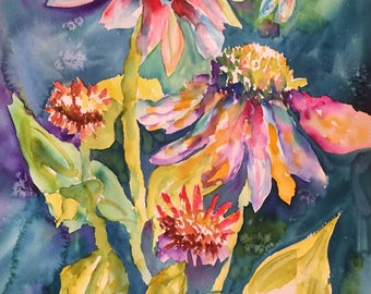 coneflowers, original art, stocking stuffer, gifts for her, watercolor art, dragonflies, coneflower art, flower art, original watercolor