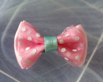 bow tie blue and pink polka dots patterned