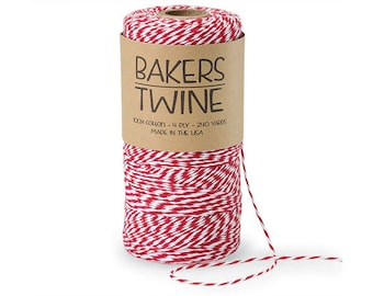 Cherry Red & White Twine , 4-ply 100% Cotton Baker's Twine