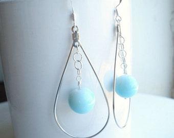 Silver Teardrop Earrings Long Silver Hoop Earrings Blue Beaded Earrings Beach Earrings Everyday Casual Earrings Bridesmaid Earrings