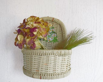 Vintage Basket Wall Pocket Organizer Painted Flowers Bamboo Wicker