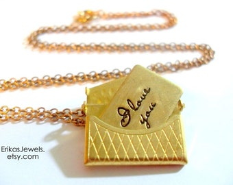 "Vintage inspired Purse Necklace OR Ring with Letter ""I Love You Forever"""