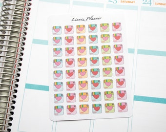 Instagram Icon with heart (Matte planner stickers, perfect for planners)