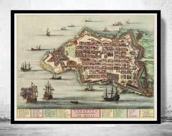 Old Map of Valletta Malta Island 1705