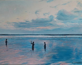 Fishing on the evening Dnepr river