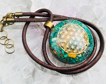 Orgonite® Orgone Pendant (Medium) - Amazonite/Yellow Jasper/Turquoise - FREE WORLDWIDE SHIPPING!