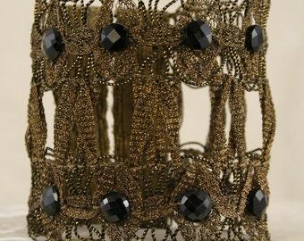 Wide Black Garnet Cuff  9827