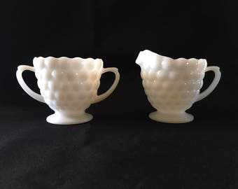 Vintage Creamer and Sugar, Milk Glass Creamer and Sugar Set, Anchor Hocking Milk Glass Bubble Pattern, White Milk Glass Creamer and Sugar