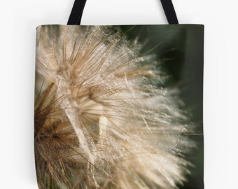 Goat's Beard / Tote Bag Featuring Feathery Seed Head / Rustic Bokeh