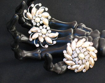 Vintage Rhinestone and Faux Pearl Brooch and Clip back Earring SET. 1960s. Renaissance~Costume