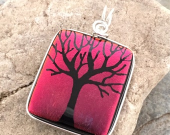 SALE Tree Pendant Dichroic Dark Red Hand Etched Glass Art Wire Wrapped