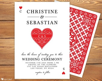 Personalized Las Vegas Wedding Invitation Set - Casino Wedding Invitation, Las Vega Wedding Invitation, Destination Wedding Invites, Suite