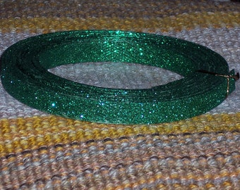 Emerald green Glittered PVC ribbon,appx 5 yds,0.5 inch wide,craft garland,trim,plastic,wreath embellishment,Christmas