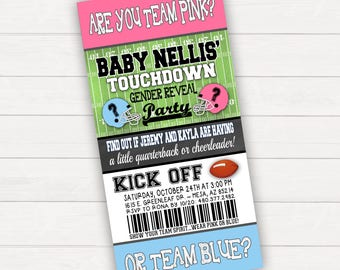 Gender Reveal Invitation Gender Revel Party Football Gender Reveal Touchdowns or Tutus Baby Reveal Football Ticket Invitation Boy or Girl