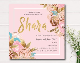 Baby Shower Invitation, Pink and Gold Floral Baby Shower Invitation Garden Baby Shower Invite Rustic Baby Shower Girl Baby Shower Invitation