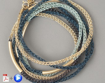 Video tutorial bracelet pattern.Layering Bracelet PDF tutorial.How to crochet wire layering bracelet using a crochet hook.beaded bracelet