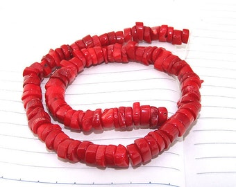 """One Full Strand ---- Heishi Red Coral Beads----8mm ---- 70Pieces--- gemstone beads--- 15.5"""" in length"""