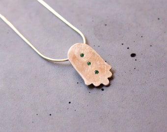 Hamsa Sterling Silver Necklace with Three Tiny Emerald Gemstones, Fatima Hand necklace, Judaica, Contemporary Judaism