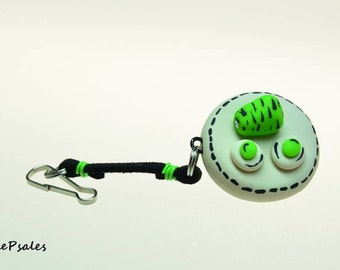 Green Eggs and Ham Purse Charm Keychain, Hand sculpted polymer clay novelty keychain purse charm, Dr Suess inspired