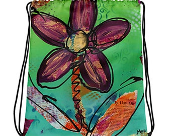 Playful Flower Drawstring Bag