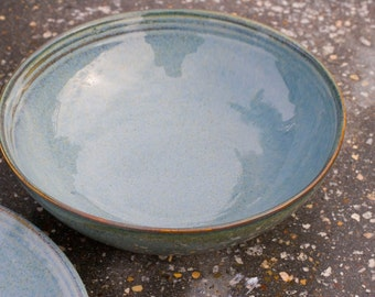 Soup or Salad bowl, Blue denim with hint of brown and green -  Brown Tan - Natural Patina High Fire Stoneware - Hand Painted - Ready To Ship