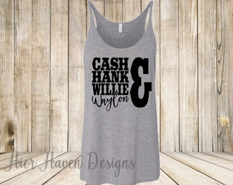 Cash Hank Willie & Waylon - Ladies Oversized Slouchy Country Music Work Out Festival tank top