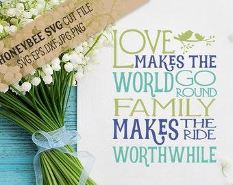 Love Makes The World Go Round svg Family svg Bird svg Family Quote svg Love svg Love Quotes svg Silhouette svg Cricut svg eps dxf jpg