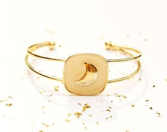 Gold Moon Cuff, Moon Bracelet, Enamel Bracelet, Cuff Bracelet