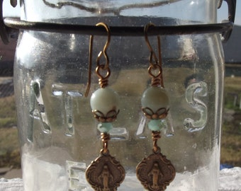 Bright Bronze Miraculous Medal Earrings Mary Catholic Jewelry