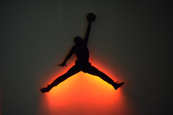 Items Similar To Jump Man Logo   LED Backlit Floating Metal Wall Art On Etsy