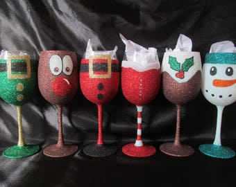 Christmas Glitter Glasses