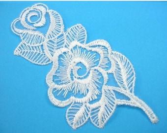 APPLIQUE lace fabric: white 110 * 50mm flower