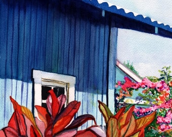 Hanapepe Kauai art,  Kauai art prints,  Whimsical House Art, Vacation Cottage Print, Hawaiian House Hale, Hawaiian wall art, kauaiartist