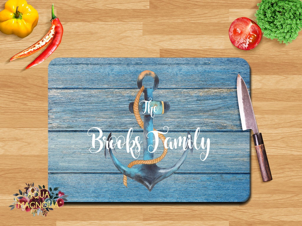 Personalized Small Glass Cutting Board Rustic Anchor Blue