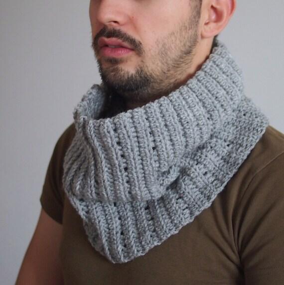 Crochet PATTERN men cowl men neckwarmer loop scarf man