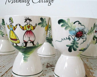 Set of Six Vintage Porcelain Egg Cups Hand Painted In Japan